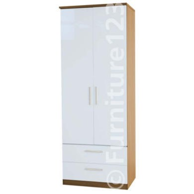 Welcome Furniture Hatherley High Gloss 2 Drawer 2 Door Wardrobe in Oak and White