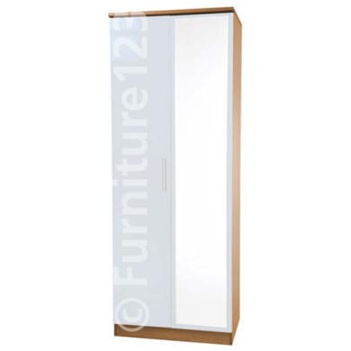 Welcome Furniture Hatherley High Gloss 2 Door Mirrored Wardrobe in Oak and White
