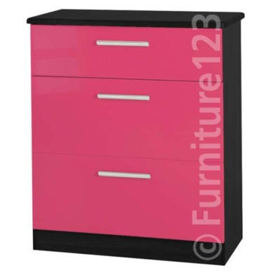 Welcome Furniture Hatherley High Gloss 3 Drawer Chest in Black and Pink