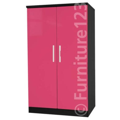 Welcome Furniture Hatherley High Gloss 2 Door Low Wardrobe in Black and Pink