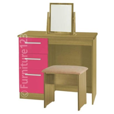 Welcome Furniture Hatherley High Gloss Small Dressing Table in Oak and Pink