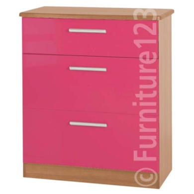 Welcome Furniture Hatherley High Gloss 3 Drawer Chest in Oak and Pink