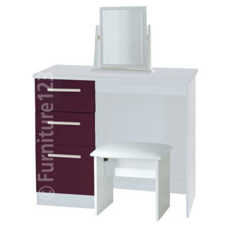 84a300e2d49e Welcome Furniture Hatherley High Gloss Small Dressing Table in White and  Purple FOL068935