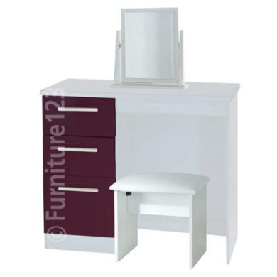 Welcome Furniture Hatherley High Gloss Small Dressing Table in White and Purple