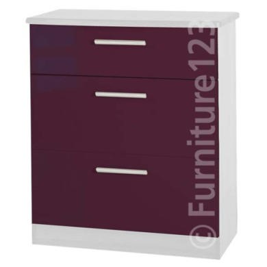 Welcome Furniture Hatherley High Gloss 3 Drawer Chest in White and Purple