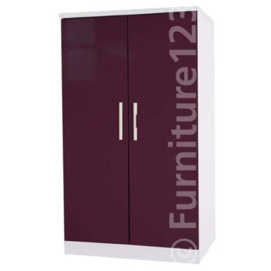 Welcome Furniture Hatherley High Gloss 2 Door Low Wardrobe in White and Purple