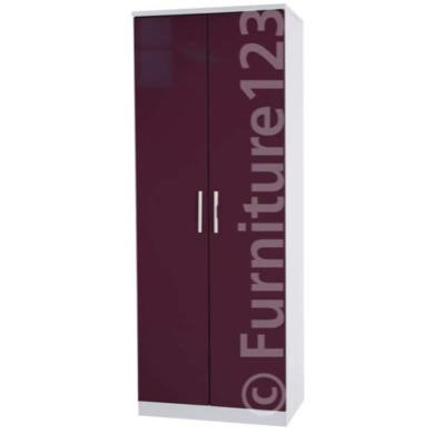 Welcome Furniture Hatherley High Gloss 2 Door Wardrobe in White and Purple