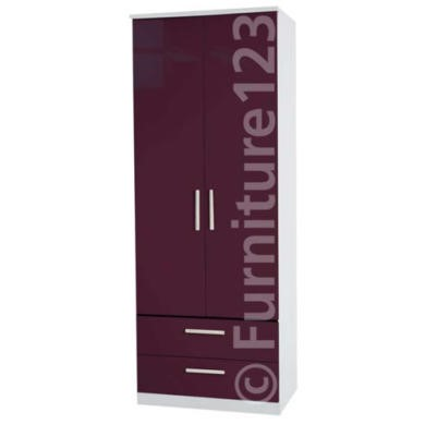 Welcome Furniture Hatherley High Gloss 2 Drawer 2 Door Wardrobe in White and Purple