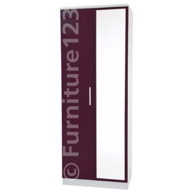 Welcome Furniture Hatherley High Gloss 2 Door Mirrored Wardrobe in White and Purple