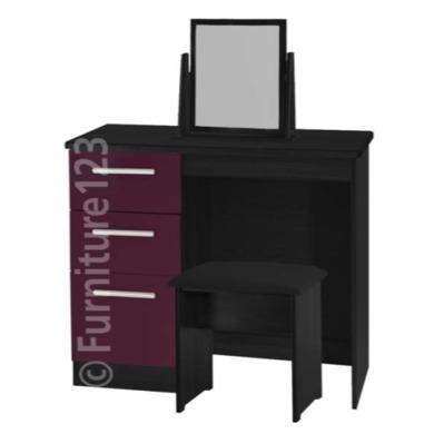 welcome furniture hatherley high gloss small dressing table in black and purple furniture123