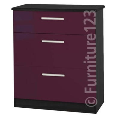 Welcome Furniture Hatherley High Gloss 3 Drawer Chest in Black and Purple