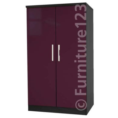 Welcome Furniture Hatherley High Gloss 2 Door Low Wardrobe in Black and Purple