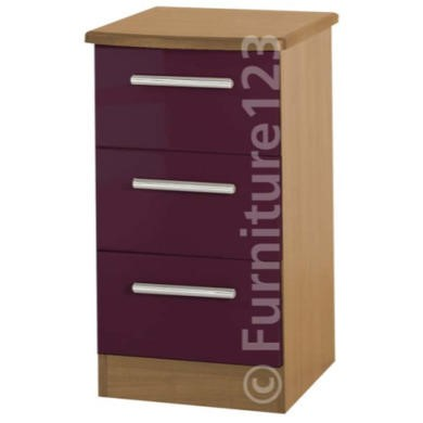 Welcome Furniture Hatherley High Gloss 3 Drawer Bedside Chest in Oak and Purple