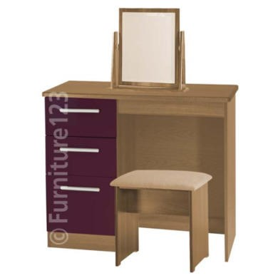 Welcome Furniture Hatherley High Gloss Small Dressing Table in Oak and Purple