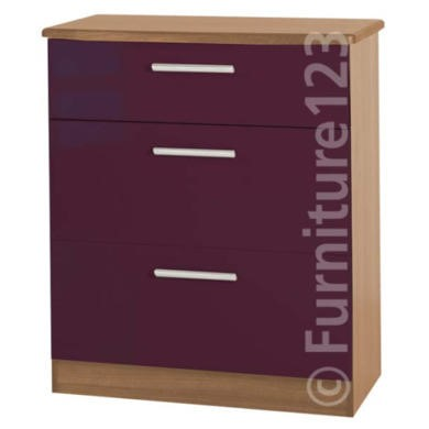 Welcome Furniture Hatherley High Gloss 3 Drawer Chest in Oak and Purple