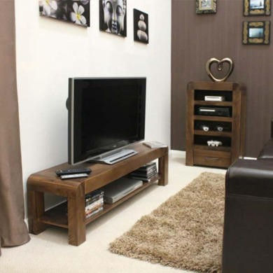 Baumhaus Shiro Solid Walnut 2 Piece Living Room Entertainment Furniture Set