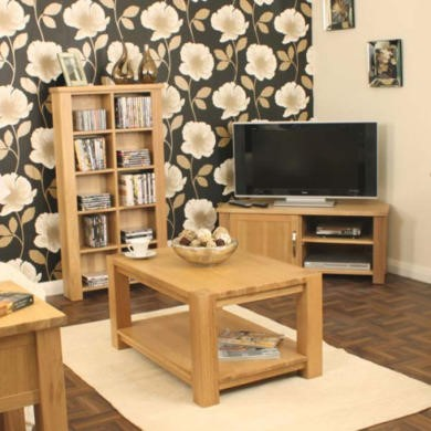 Baumhaus Aston Solid Oak 3 Piece Living Room Furniture Set
