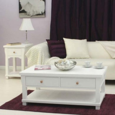 Baumhaus Hampton White Solid Ash 2 Piece Living Room Furniture Set