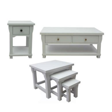 Baumhaus Hampton White Solid Ash 3 Piece Occasional Furniture Set