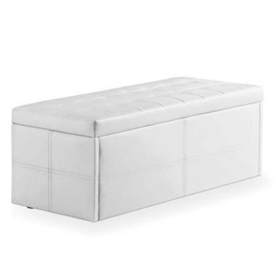 LPD Amalfi White Upholstered Ottoman Blanket Box