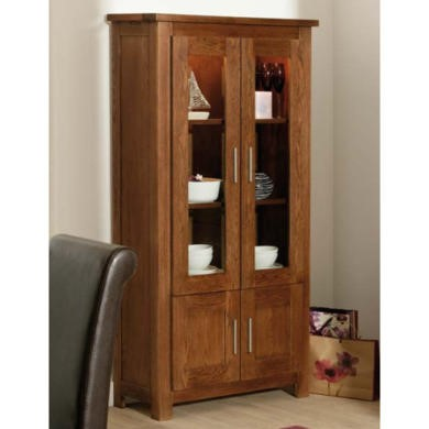 Zone Calza Oak Glazed 2 Door Display Cabinet