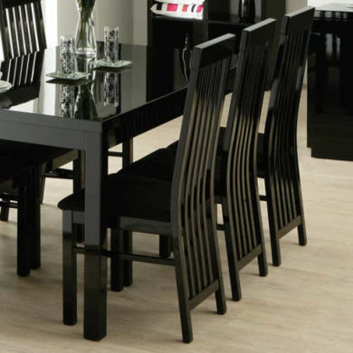 Zone Dazzle High Gloss Black Slat Back Dining Chair