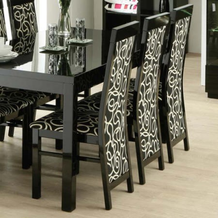 Dazzle High Gloss Black Upholstered Swirl Dining Chair