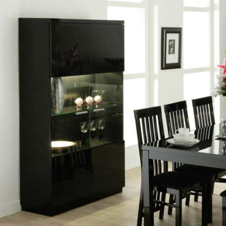 Dazzle High Gloss Black 2 Door Display Cabinet
