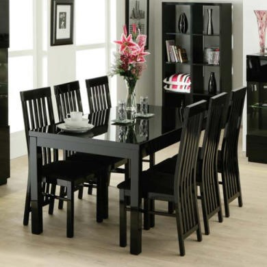 Zone Dazzle High Gloss Black Rectangular 4 Seater Dining Set with Slat Back Chairs