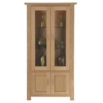 Zone Jenson Oak Glazed 2 Door Display Cabinet