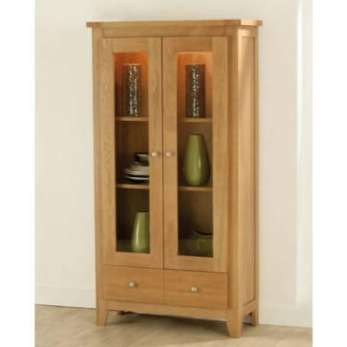 Zone Mallory Oak Glazed 2 Door Display Cabinet
