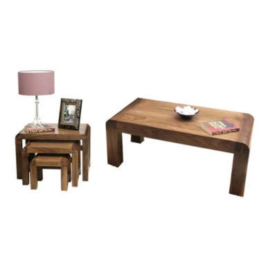 Baumhaus Shiro Solid Walnut 2 Piece Occasional Furniture Set