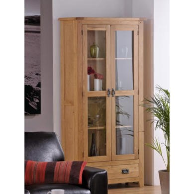 World Furniture Cabos Glazed 2 Door 1 Drawer Display Unit in White Oak