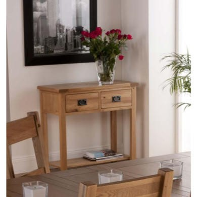 World Furniture Cabos 2 Drawer Console Table in White Oak