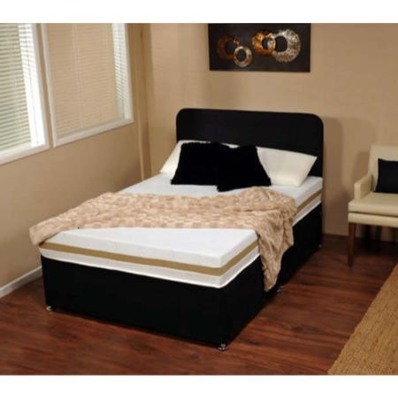 Visco therapy dusk faux suede divan bed in black with for Black double divan bed