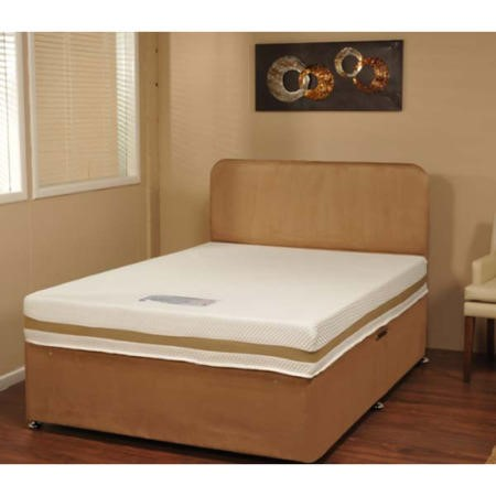 Visco therapy dusk faux suede divan bed in gold with for Small double divan bed with memory foam mattress