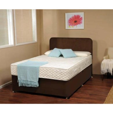 Visco therapy dusk faux suede divan bed in brown with for Small double divan bed with memory foam mattress