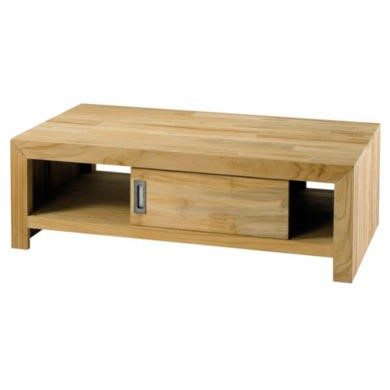 Alpes Developpement Cosmos Sandblasted Solid Teak Rectangular Storage Coffee Table Furniture123