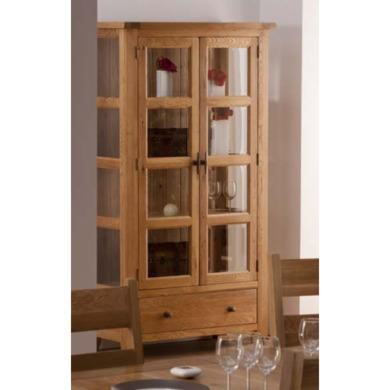 World Furniture Provence Glazed 2 Door 1 Drawer Display Cabinet in Oak