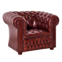 Icon Designs St Ives Windsor Leather Armchair in Red