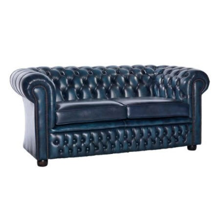 Icon Designs St Ives Windsor Leather 2 Seater Sofa In Blue