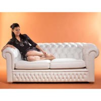 Icon Designs St Ives Windsor Leather 3 Seater Sofa in White