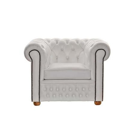 Icon Designs St Ives Windsor Leather Armchair in White