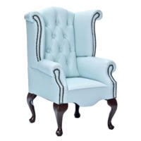 Icon Designs St Ives Kids Scroll Wing Leather Armchair in Blue