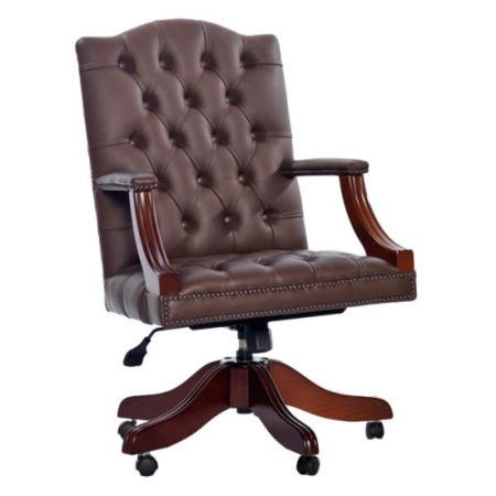 Icon Designs St Ives Gainsborough Leather Swivel Study Chair in Mocha
