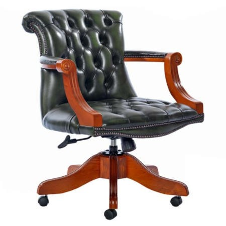 Icon Designs St Ives Admiral Leather Swivel Study Chair in Green