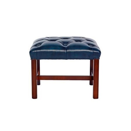 Icon Designs St Ives Reproduction Leather Footstool in Antique Blue