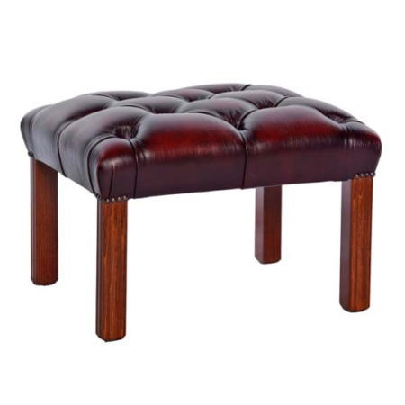 St Ives Georgian Red Real Leather Footstool