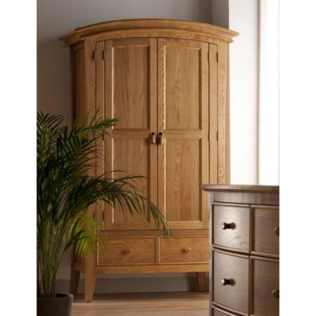 World furniture calgary solid oak 2 door 2 drawer wardrobe for Furniture 123 wardrobes