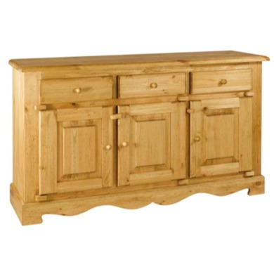Alpes Developpement Farmer Solid Pine 3 Door 3 Drawer Sideboard Furniture123